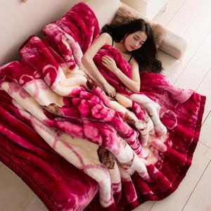 Manta Raschel flores rojo regalo de invierno manta espesa capa doble super suave 150x200cm Throw gruesa