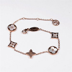 Fashionable four-leaf flowers titanium steel bracelet classic flower chain Lucky four-leaf grass bracelet 18K rose gold for women