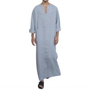 abito T-shirt a maniche lunghe di colore di contrasto abito nuovi uomini di abbigliamento formale cuciture abito turco stile degli uomini maglietta lunga