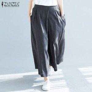 Women Wide Leg Pants 2020 ZANZEA Ladies Casual Solid Elastic Waist Long Trousers Pantalon Femme Pockets Streetwear Sweatpants 7