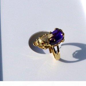 Y Men &#039 ;S Women &#039 ;S Antique 18 K Solid Gold Gf 3d Luck Wealth Pixiu Purple Onyx Small Diamond Cz Eyes Filigree Ring Size Open