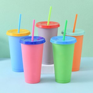 New 24oz Color Changing Cup With Lid Straw Magic Plastic Drinking Tumblers Candy Colors Reusable Cold Drinks Cup Magic Coffee Mug DBC BH3651