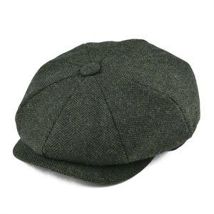 BOTVELA Wool Tweed Newsboy Cap Herringbone Men Women Classic Retro Hat with Soft Lining Driver Cap Black Brown Green 005 T200715