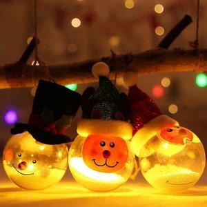Transparent Glühend Weihnachtskugel Merry Xmas Schneemann-Baum hängende Kugel mit Licht-Dekoration Weihnachtskinder Geschenke DHA541