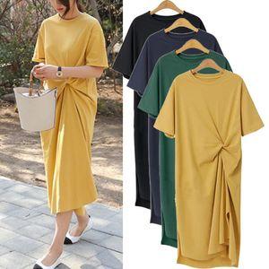 Verão Mulheres de manga curta casual solta veste a divisão em torno do pescoço T-shirt vestido cor sólida S-6XL
