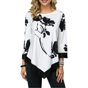 New Spring 5XL Large Size Women T Shirt Casual Irregular O-Neck Lace Splice Floral Printing Tee Shirt Women's Tops Plus Size 4XL