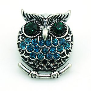 Fashion 18mm Snap Buttons 4 Color Rhinestone Owl Charms Metal Clasps DIY Noosa Interchangeable Jewelry Accessories ps0816