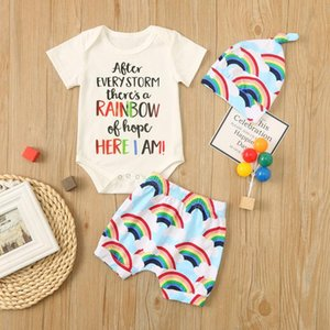 (0-24M) Infant boys and girls suit summer cotton short-sleeved letter printed romper + rainbow printed shorts + hat suit 50*