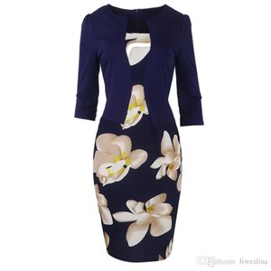 Fantaist Summer Women Casual Elegant Office Work Floral Print Patchwork Sheath Slim Fitted Three Quarter Plus Size Cotton Dress