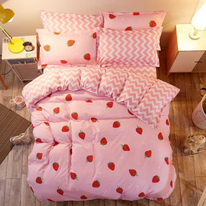Fashion Strawberry Printed Bedding Sets Princess Bedclothes Cotton Duvet Cover Set Pillowcases Bed Linens Flat Sheets Home Decor