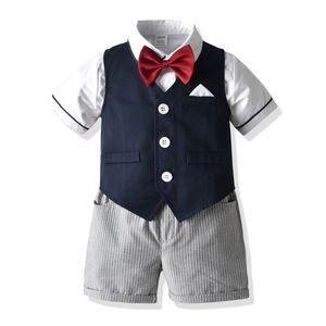 Summer style new gentleman boy birthday dress suit middle and small children gentleman shirt vest striped pants college uniform suit