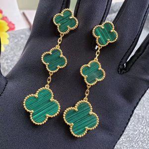 New three-flower four-leaf earrings long earrings red black agate green earrings factory wholesale