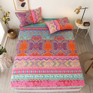 2 3 pcs Bed Sheet with Pillowcase Queen Size Bohemian Fitted Sheet with Elastic Single King Size Bed Sheets Set