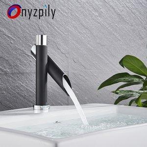 Onyzpily Chrome com preto polido plataforma torneira pia do banheiro Set Toque Mixer Bacia Handle Buraco solteiro Modern