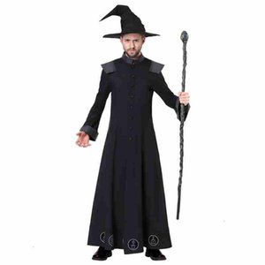 Grown magic costume mantle mantle topcoat cosplay pentagram costumes capes hat beanies cloak for man Halloween holiday