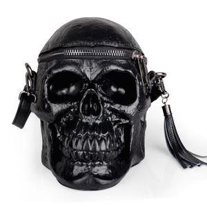 originalidad mujeres bolsa de simulación 3D divertido cráneo del gel de silicona del cubo bolsas de cosecha bolsa hombro sólido de la cremallera Soft bolso unisex