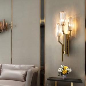 새로운 디자인 크리스탈 벽 객실 복도 침실 침대 옆 소파 현대적인 고급스러운 벽 sconces 조명을 주도 생활 램프
