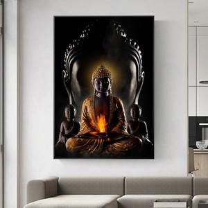 Klassische Zen Lord Buddha Leinwand-Malerei Buddhismus Poster Drucke Religious Wall Art Bilder Wohnzimmer Home Decoration