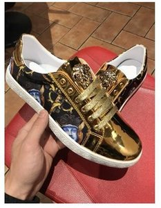 sslouboutinCL2018 High Quality Fashion men metal black gold red mixed color causal shoes loafers men driving bottom ru