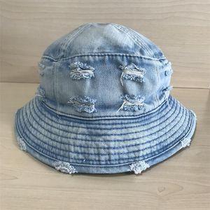 Омывается джинсовой Bucket Hat Женщины Мужчины Damage Сломанный Cowboy Широкий Брим Бич ВС Cap дамы Рыбалка Шляпы Fisherman Cap Panama Pop Hip Hop Summer