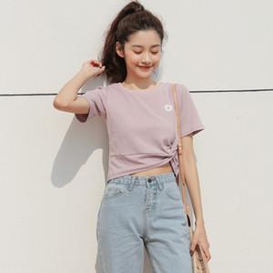 di HhMvR estate delle donne 2020 nuovo mini-top a manica corta stile coreano bm kink margherita Top camicia ricamata ricamo corta girocollo T-sh