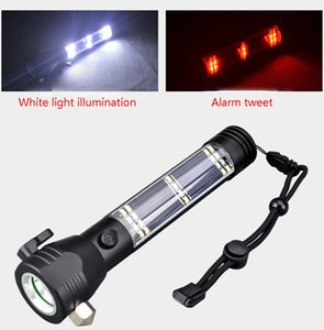 Car Flashlight Solar Power Multi Function Flashlight Led Emergency Light With Saftety Hammer Seat Belt Cutter Compass For Hike Camp HH9-2628