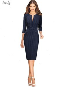 Womens V Neck Front Zipper Long Sleeve Slim Wear To Work Business Office Party Printed Striped Sheath Bodycon Pencil Dress 671