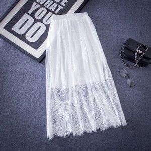 Юбки Весна TUTU Юбка с высокой талией Белый Кружева Женская Saias Длинная Эластичная талия Летний Jupe Longue Femme QH0073