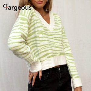 Fargeous vert pâle v-Neak femmes pull couleur sauteur femmes dames femelles de grains animaux Contraste doux