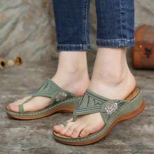 Women Sandals Ladies Casual Clip Toe Flower Embroidery Comfortable Beach Slippers Sandals Shoes Plus Size Womens Shoes D2#3