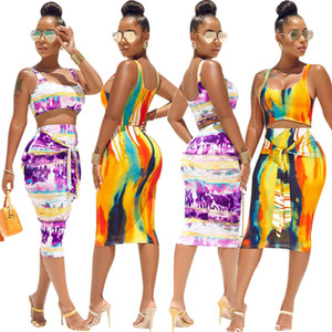 2020 New in Europe and America Fashion Women's Two Piece set Tie-dye suspender skirt suit two-piece suit