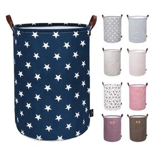 Immagazzinaggio pieghevole Basket Bambini Giocattoli sacchetti di immagazzinaggio Bins stampati vario Secchio Canvas Handbags Abbigliamento Organizzatore Tote 30pcs DHC16