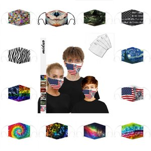 Livraison rapide Masque Skull Drapeau Impression numérique Designer Masque PM2,5 antipoussière lavable en coton réutilisables Masques réglables Earhook 9119