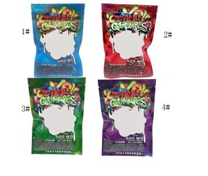 500MG Dank Gummies Mylar Bag Edibles Retail Zip Lock Packaging Worms Bears Cubes Gummy for Dry Herb Tobacco Flower