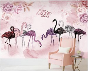 3d wallpaper custom photo Nordic hand-painted flamingo pink rose sofa TV background wall 3d mural paper photo wallpaper 3d