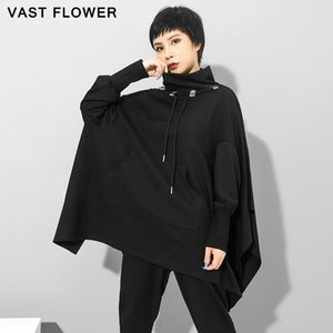Oversized Women Sweatshirt Hoodie Pullover Turtleneck Batwing Sleeve Tops Loose Fashion Clothes Hoodies Autumn Winter 2020