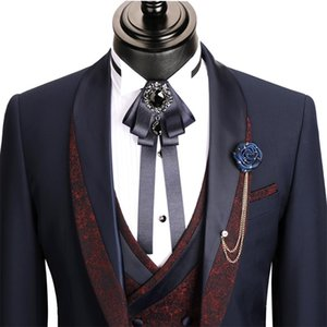 Newest Handsome 3-Piece Men Suits Custom Made Groom Suit Fit Slim Printed Cotton Party Formal Business Suit For Man