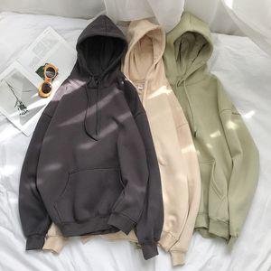 Einfarbige 12-Farben-koreanische Kapuzenpullover weibliche 2020 Algodón dicke warm con capucha Damen Herbstmode Top T200729