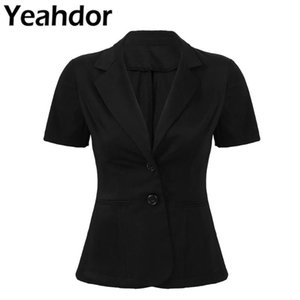 Black Womens Formal Blazers Notch Lapel Short Sleeves Two Buttons Slim Fit Office Lady Work Suit Business Blazer Female Jackets