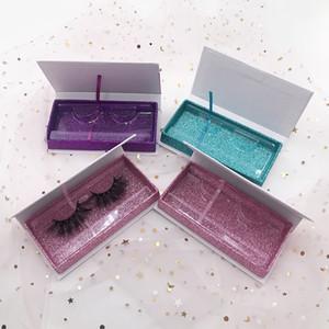Pestañas de visón 3D dramáticas de 25 mm con caja de pestañas del brillo de color turquesa personalizado 100% Real Mink para maquillaje