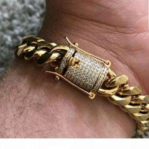 Whosales_Cool الرجال سلسلة الذهب لهجة الفولاذ المقاوم للصدأ 14MM 8INCH سوار كبح الكوبية سلسلة ربط مع الماس المشبك قفل الهيب هوب أساور
