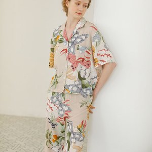 Floral Butterfly Printing Elegant Pajamas Women Summer Short Sleeve Shorts Cool Pajama Set Cotton Home Clothes Pijamas Feminino Y200708