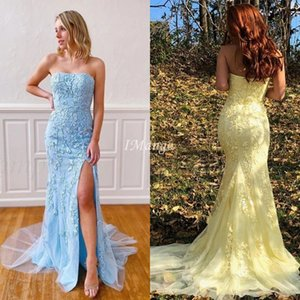 2020 New Mermaid Side Split Prom Dresses Straplss Appliques Zipper Back Formal Graduation Evening Gowns Sweep Train Robe De Soriee
