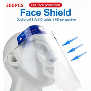 300pcs / lot de plástico Escudo adultos Niños de la cara llena de protección careta de protección contra la niebla película transparente de plástico proteger la cara y los ojos Escudos Fy8017