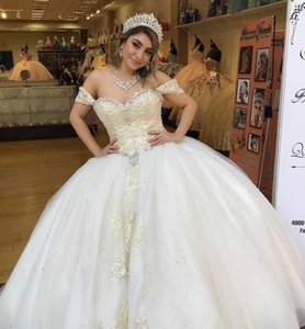 Modern Quinceanera Dresses Off the shoulder Princess Prom Dresses corset Lace Ball gowns Cheap Long Sweet 16 Evening Dresses Floor Length
