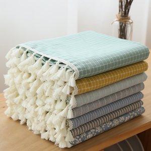 Japan Style Linen Cotton Tassel Table Cloth Rectangular Edge Tablecloth Letter Printed Dustproof Table Covers toalha de mesa T200707