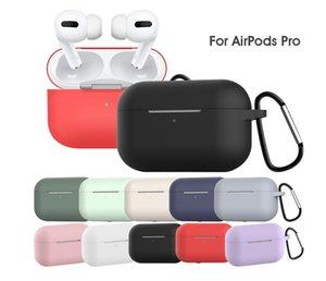El más nuevo de DHL 100pcs líquido espeso Funda de silicona a prueba de agua para Apple AirPods Pro con hebilla de metal de 12 colores Caso Earpbuds opcional