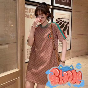 Fashion gg womens designer Dress long cotton Luxury lettered print T-shirt T-shirt gu̴ci elastic clothes guccì woman girl L̴V Tee