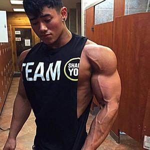 Erkek Vücut Geliştirme Tank Yelek Stringer Atlet Erkek Yaz Spor Giyim Running Gym Egzersiz Fitnes Pamuk Kolsuz Shirt