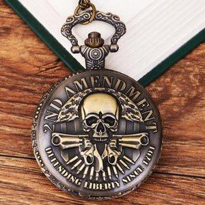 (1165) Steampunk Pocket Watch vintage bronze 2ND AMENDMENT double Guns Watch Necklace , 12 pcs lot, wholesale T200502
